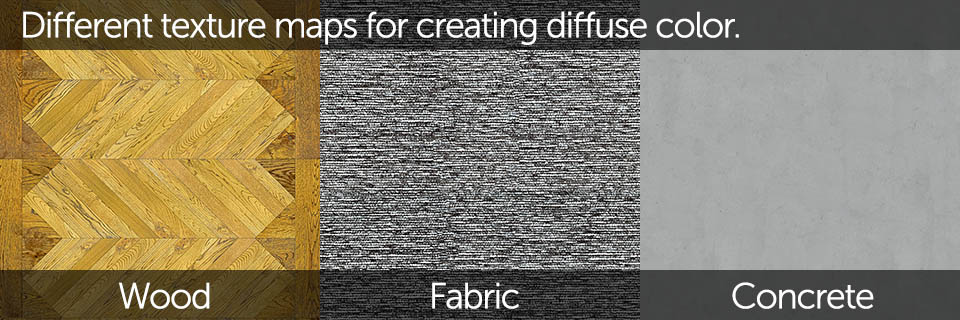 Diffuse color can be also defined by using image textures for more complex surfaces like wood, marble, fabric etc.