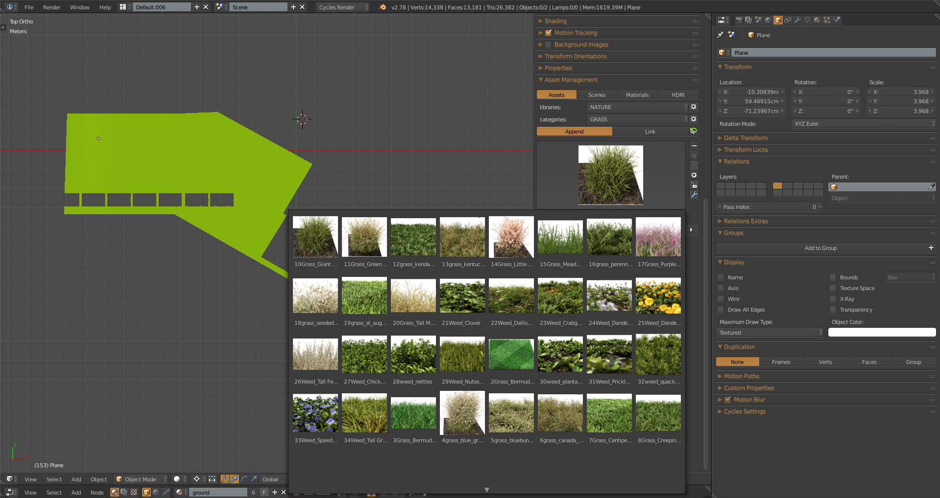 Grass types in Asset manager add-on
