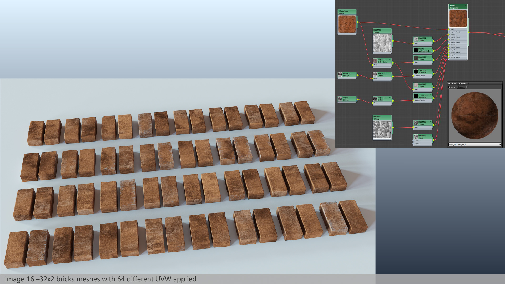 Termitary House - 32x2 bricks meshes with 64 different UVW applied