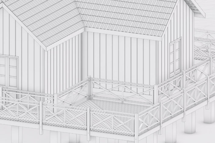 SketchUp and Skatter Making of Sarmiento Museum - 3d model detail