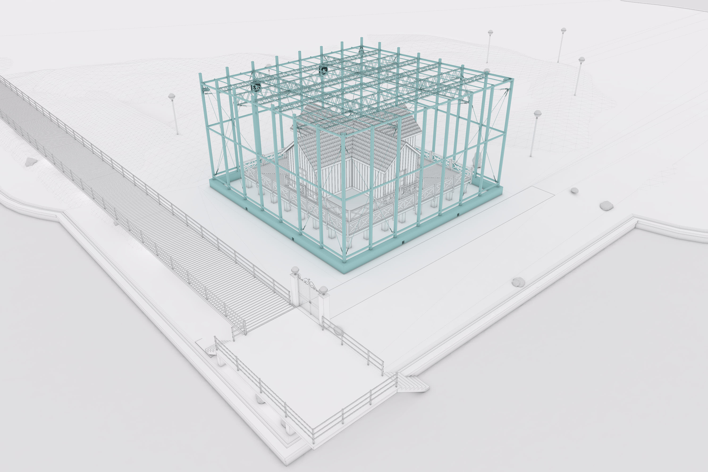 SketchUp and Skatter Making of Sarmiento Museum - 3d Modeling
